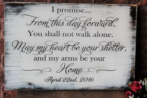 Rustic Wedding Vow Sign Made Pallet Sign From This Day Forward, Carved Wood Sign