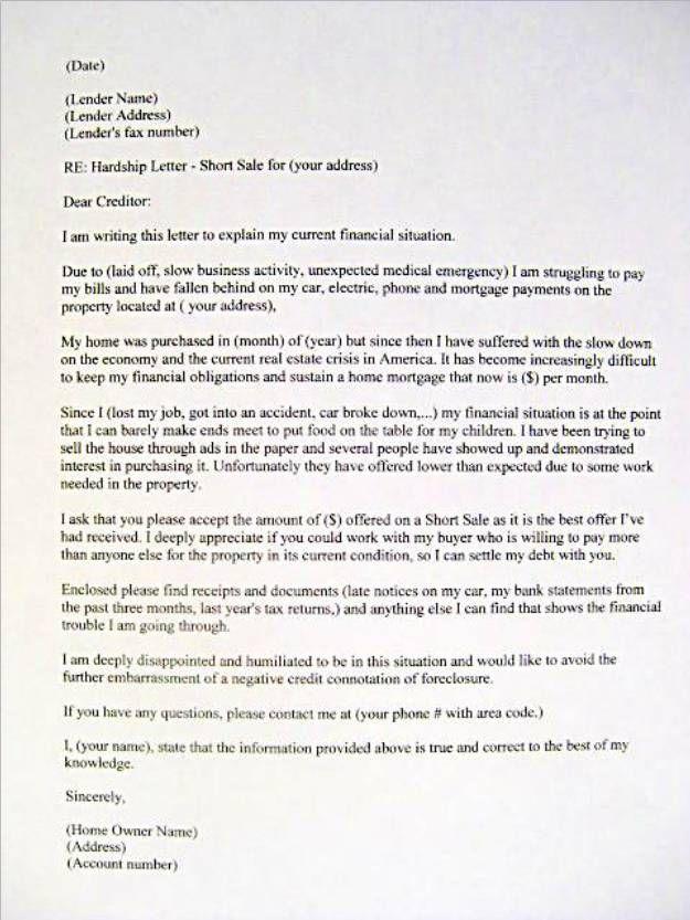 sample hardship letter