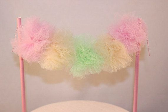 Cake Banner. Tulle Pom Poms. Pink, Mint and Yellow. Birthday - Ballerina - Fairy - Childs Birthday.    This gorgeous cake bunting is
