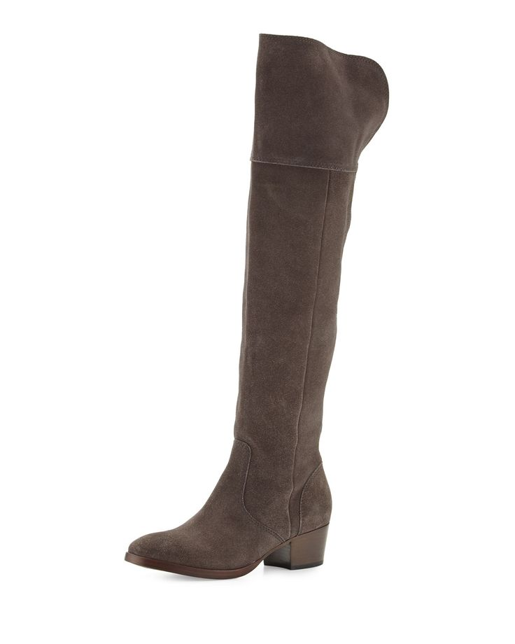 Clara Suede Over-The-Knee Boot, Smoke