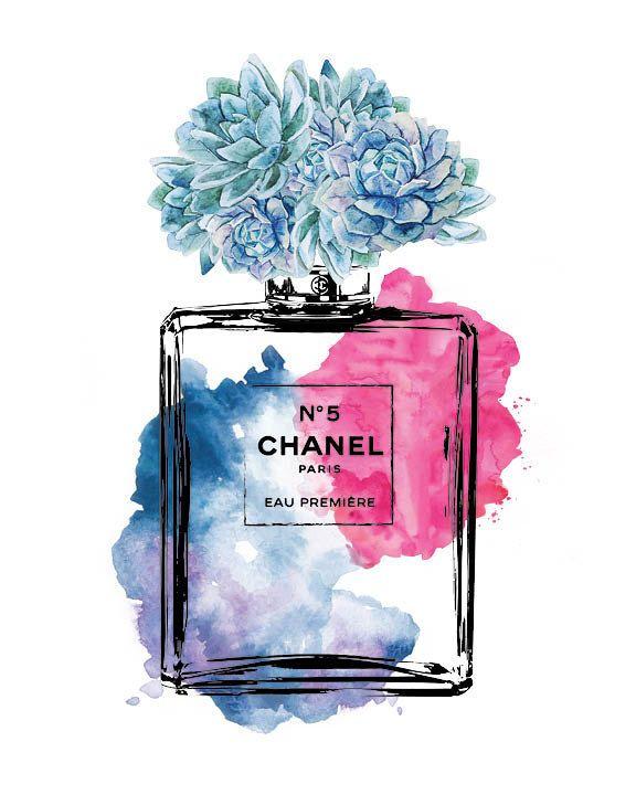 3X printed Chanel 8x10 Watercolor fashion by hellomrmoon on Etsy