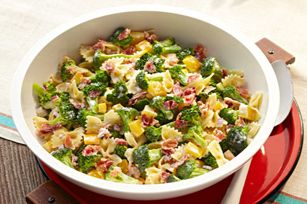 Tangy Broccoli-Pasta Salad recipe - I halved the recipe but used 1 cup uncooked pasta & 4 slices of bacon.  Could have used more bacon.  Also added 1 tbsp red wine vinegar & some chunks of cheddar cheese.  Tasted like broccoli salad only better IMO.
