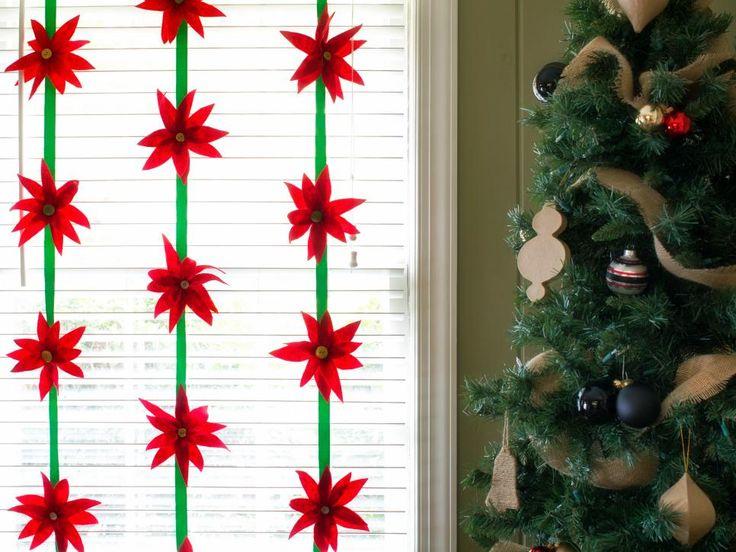 Spruce up your windows, doors or banisters with handmade felt poinsettias.