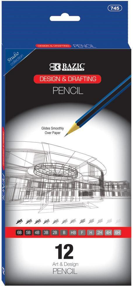 BAZIC Design & Drafting Pencil Set (12 Assortment) - 24 Units