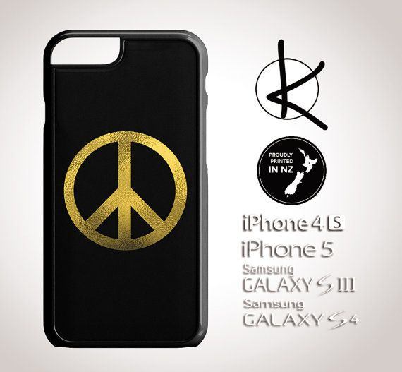 Gold Foil Peace Sign  iPhone 4/4S 5/5S 6 and Samsung by Kultured