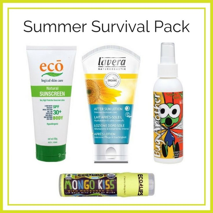Have you got your Summer Survival Pack yet? We have gathered four essentials into one easy to purchase pack to keep you safe this Summer.  ECO Body SPF30+ Natural Sunscreen 150g LAVERA After Sun Lotion 150ml BIOLOGIKA Bug Another 125ml ECO LIPS Mongo Kiss Unflavoured Lip Balm 7g  This pack is only $65.95