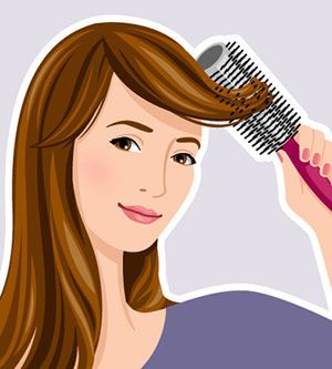 How to style side swept bangs Wrap bangs around a 2.5-inch round brush and pull away from the side you wear them (i.e., if yours go to the right, start by drying to the left.) Move dryer side to side from above for 10 seconds as you smooth strands. Then bring pieces over in half-inch sections. Pin in place while they cool to hold shape.