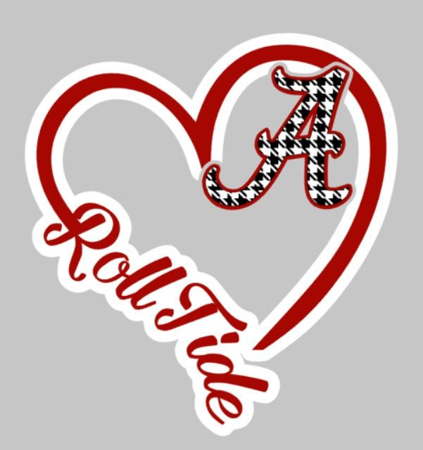 5'' Heart Car Decal, Alabama, college, - pinned by pin4etsy.com