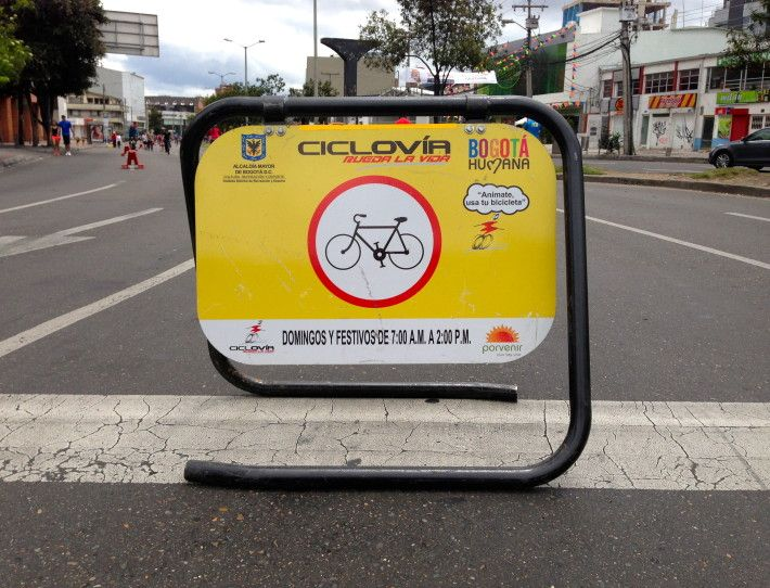 A sign marks the roads that are closed for Bogota's Sunday ciclovia.