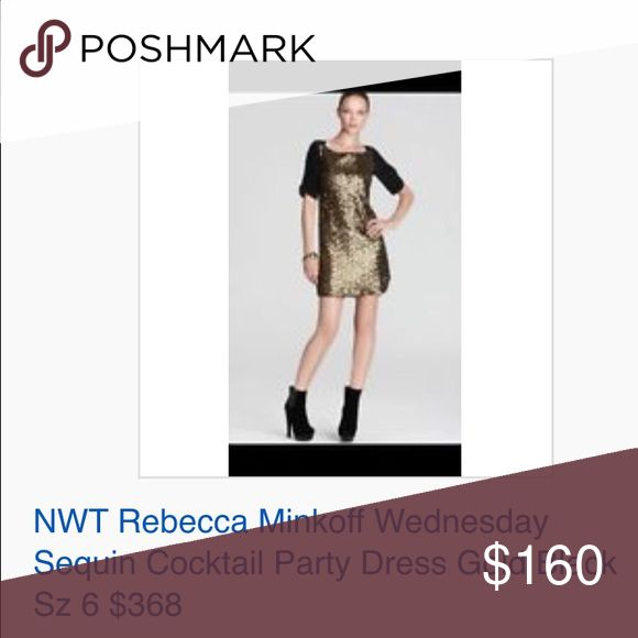 NWT Rebecca Minkoff Wedne Sequin Cocktail Dress 6 NWOT AUTH Rebecca Minkoff Designer BRAND Wednesday Sequin Cocktail Party Dress Gold Black WMNS Sz 6 $368  100% Authentic REBECCA MINKOFF Designer BRAND  Size: WOMENS size 6 (REG) Color: Black, gold metallic Condition:  New without tags, store display; *see photos for specific detail Material:  blend Combined shipping discount with purchase of additional items. All items come from a CLEAN, SMOKE-FREE home Rebecca Minkoff Dresses Mini