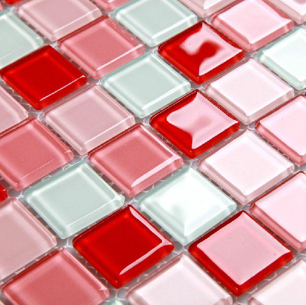 Розовый красный белый стекло плитка спинка умывальника кухня ванная стена напольное покрытие плитки мозаика листов…