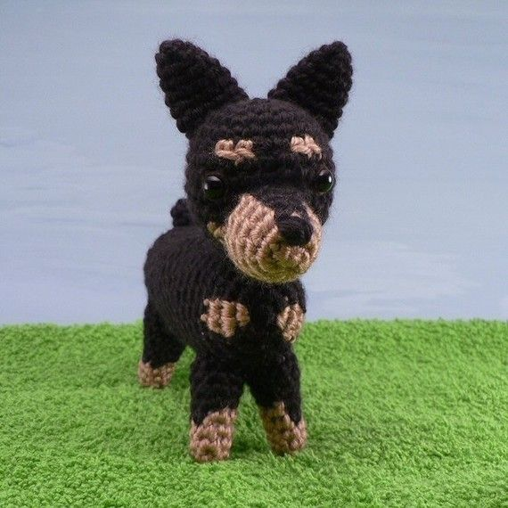 ***Please note that I sell PDF crochet patterns (see Delivery Information below), NOT completed items! As such, all sales are FINAL.***    A crochet amigurumi Min Pin dog pattern. AmiDogs: Miniature Pinscher is an original crochet pattern by June Gilbank.   Make a Miniature Pinscher, a Doberman, or a Manchester Terrier using this pattern!    Yarn: worsted weight yarn in black and tan/brown    Hook: US E / 3.5mm    Size: approx 6.25″ long      DELIVERY INFORMATION  This/these pa...