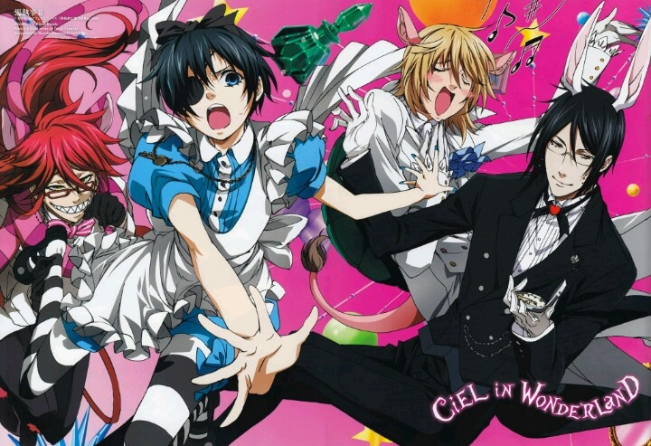 Doesn't Ciel make a cute Alice? And I love Grell as Cheshire Cat.