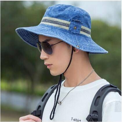 Casual bucket hat with strings for men UV protection sun hats