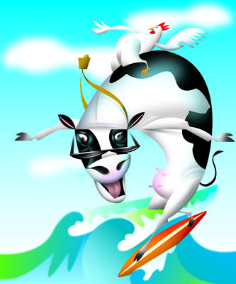 Surfing Cow Dude. Illustration by Amy Ning, represented by Liz Sanders Agency. lizsanders.com