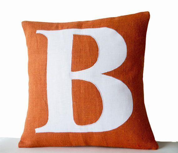 Burlap Pillow Cover Monogram Pillow Cases by AmoreBeaute on Etsy