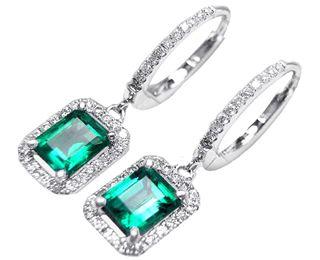 Genuine Emerald Dangling Earrings