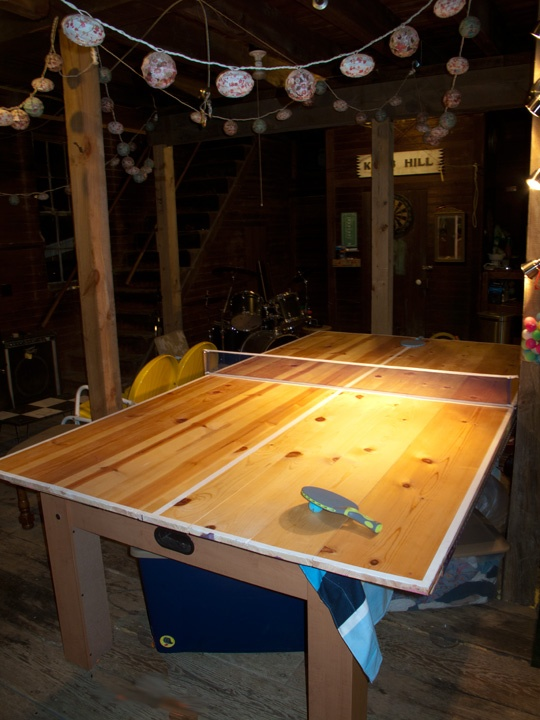 Home made ping pong table basement rec room pinterest - How much space for a ping pong table ...