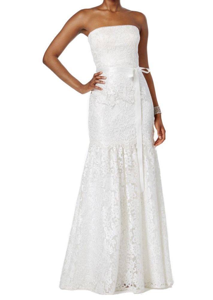 90d89e5f139 Adrianna Papell NEW White Women Size 8 Lace Mermaid Wedding Gown Dress   399- 144