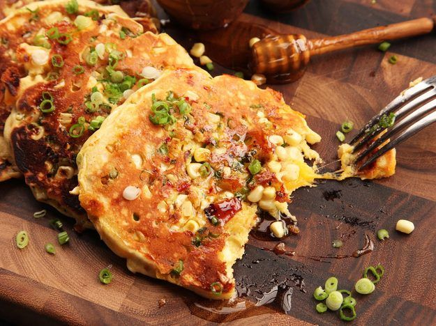 Savory Bacon-Cheddar Pancakes With Corn and Jalape\u00f1o