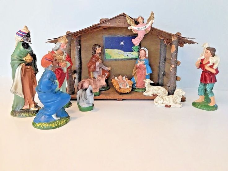 Vintage Large Nativity Set 13 Piece ~ Paper Mache Composition ~ Orig Box ~ Japan