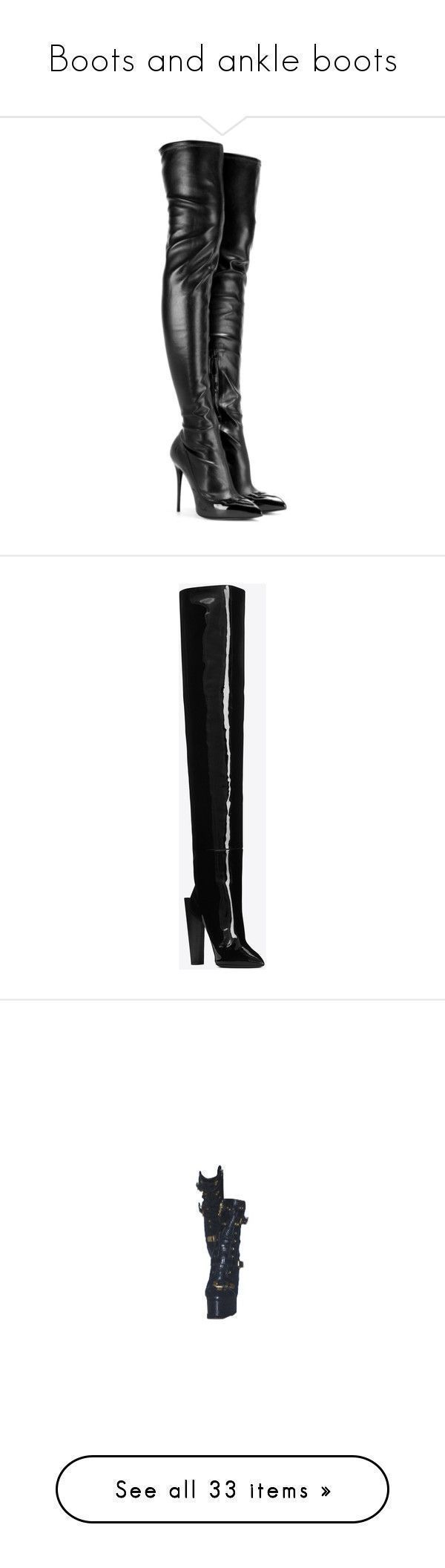 """""""Boots and ankle boots"""" by divinenk ❤ liked on Polyvore featuring shoes, boots, heels, botas, alexander mcqueen, black, patent leather boots, thigh-high boots, black heeled boots and black patent leather boots #botas #highheelbootsankle #ankleboots #highheelbootsthigh"""