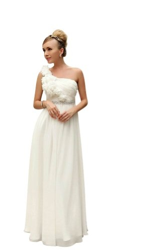Kingmalls Womens Elegant Ruching Off the One Shoulder Wedding Dresses: Amazon.co.uk: Clothing