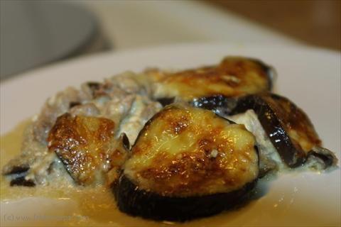 Auberginegratäng m. köttfärs och fetaost