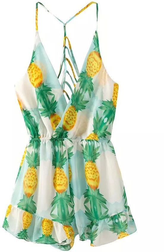 Rompers Fashion Print  Spaghetti Jumpsuit  lt   Spaghetti attache   My and Hollow Pineapple wallet Style  rolfs Print  Pineapple   Strap Favorites   Straps