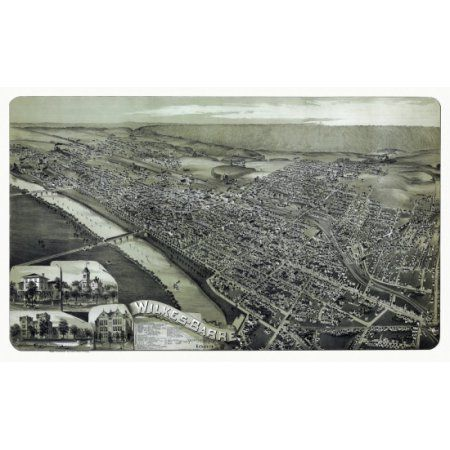 Old Map of Wilkes Barre Pennsylvania 1889 County Canvas Art - (24 x 36)