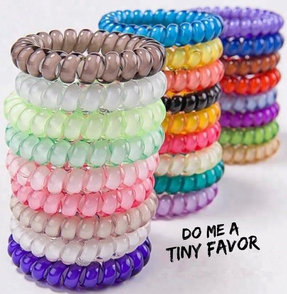 4 Pack Hair Coloured Telephone Coil Bobbles Ponytail Elastic Scrunchy Tie Beauty