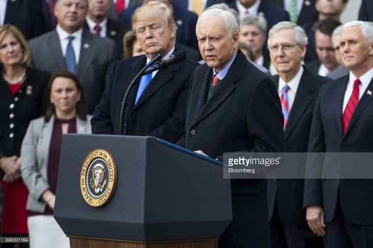 Senator Orrin Hatch, a Republican from Utah, speaks during a tax bill passage event with U.S. President Donald Trump, left, and Republican congressional members of the House and Senate on the South Lawn of the White House in Washington, D.C., U.S., on Wednesday, Dec. 20, 2017. House Republicans passed the most extensive rewrite of the U.S. tax code in more than 30 years, hours after the Senate passed the legislation, handing Trump his first major legislative victory. Photographer: Zach…