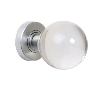 Jedo Plain Ball Glass Door Knob - Satin Chrome | Ironmongery Direct