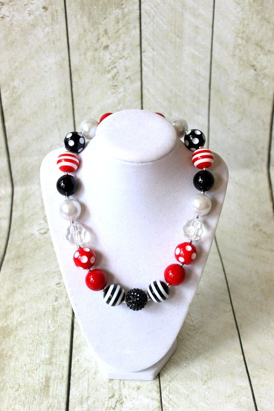 Excited to share the latest addition to my #etsy shop: Girls pirate bubblegum necklace. Red, black and white chunky bead Disney birthday necklace. Minnie Mickey mouse matching set.