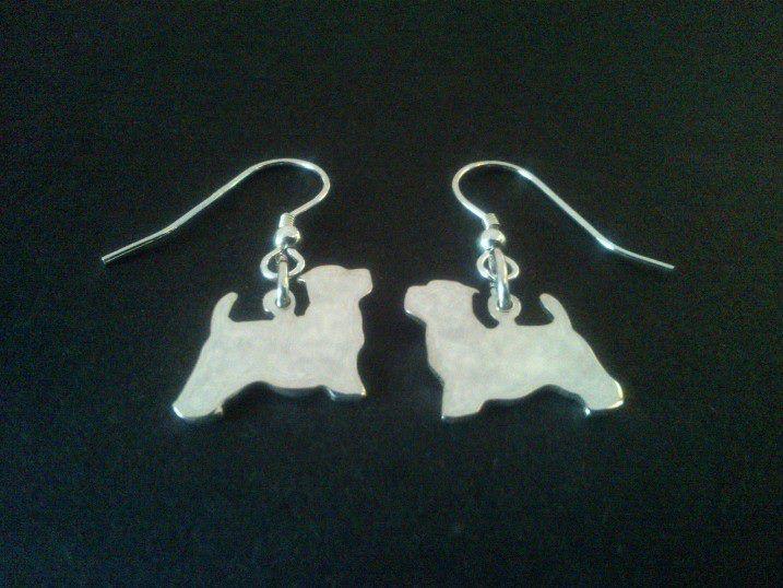 sterling silver westie dog head drop earrings 18mm x 14mm, £17.99