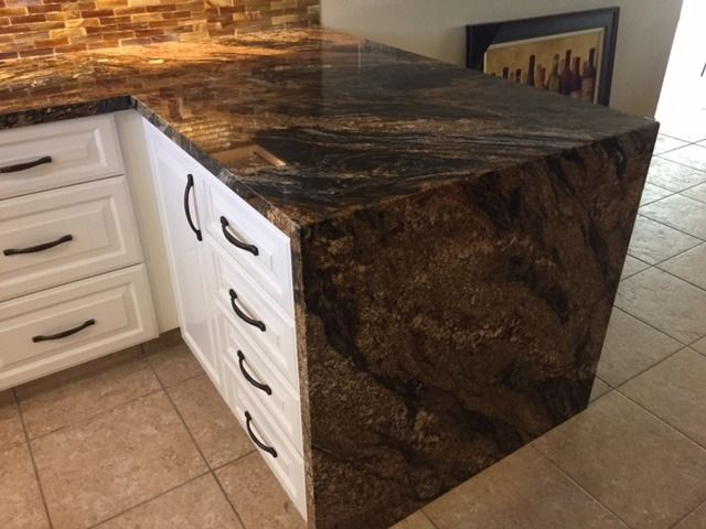 Granite Slabs Arizona Tile : Hot volcano granite waterfall install by creative