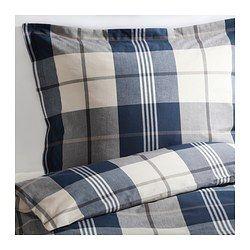 IKEA - KUSTRUTA, Bettwäscheset, 2-teilig, 150x200/50x60 cm, , Vor dem Weben durchgefärbtes Garn für weiche, schmiegsame Bettwäsche.Dekorative Knöpfe hindern die Decke am Herausrutschen.