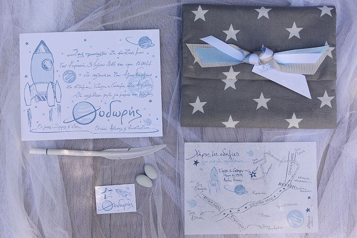 """The Greek letter """"Θ"""" inspired Chirography to design and produce a very special baptism stationary suite. """"Θ""""odoris will always be the Saturn in our design solar system!"""