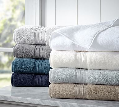 """Hydrocotton Bath Towels from Pottery Barn. Recommended by The Sweet Home; """"These thick towels made of Turkish cotton strike the best balance between softness, absorbency, durability, and affordability. They should last you up to five years."""". Normally $25 for Bath Towel (28 x 55"""")"""