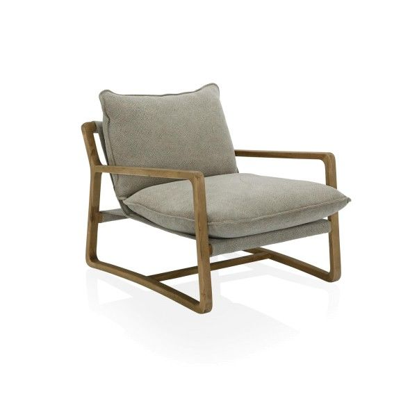 A casual and modern hand crafted timber armchair with many covering options.