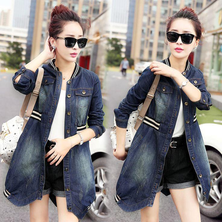 Осенью 2015 новые свободные длинные дамы джинсовая куртка длинными рукавами стоять воротник талии женщин ветровка куртка волны из категории Женские летние куртки: цена, фото, отзывы, доставка – купить в интернет-магазине Купинатао