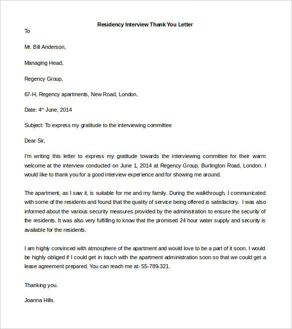 Thank You Letter After Residency Interview Fresh 41 Free Thank You