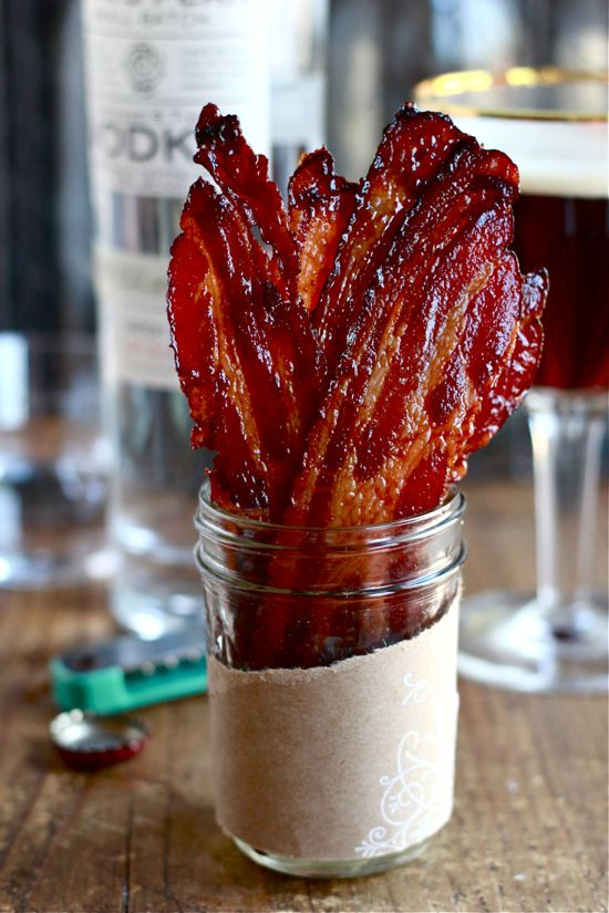 Maple Candied Bacon - 1 lb. bacon, sliced 2 tbsp. pure maple syrup ¼ c. brown sugar 2 tsp. Dijon mustard ½ tsp. Kosher salt ¼ tsp cayenne pepper Preheat oven to 350 F. Wrap jellyroll pan with foil; top with a wire rack. In a bowl, mix syrup, sugar, mustard, salt, and pepper; add bacon & toss. Place bacon in single layer on rack. Bake in center of oven 20 - 45 min. It should look slightly dark and crispy. Remove from oven: cool 5 min. Serve at room temp.