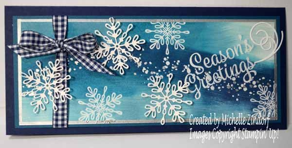 Hello there, Check out my frosty card for today using the new Snowflake Sentiments bundle, 146053. It is large format card measuring 4″ x 9″ and will fit perfectly in a #10 size business envelope whic