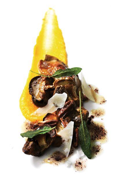 Puré de Calabaza y setas porcinis asadas con mantequilla marrón de salvia