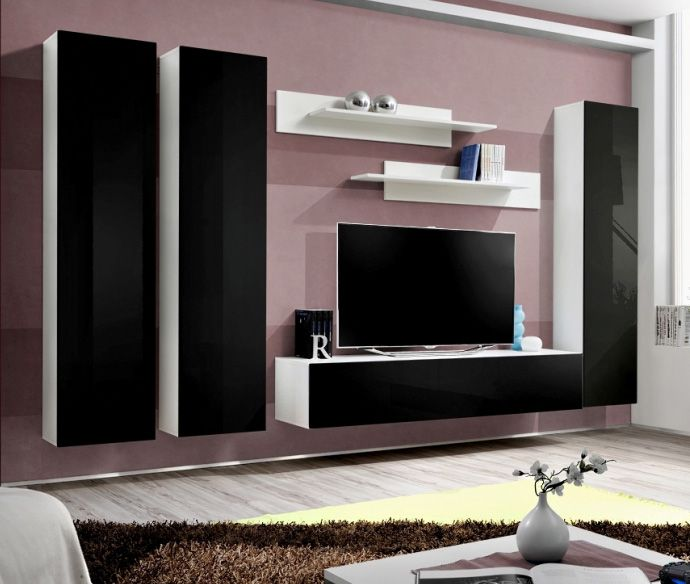 entertainment modern media wall unit Idea M2 tv wall unit with fireplace