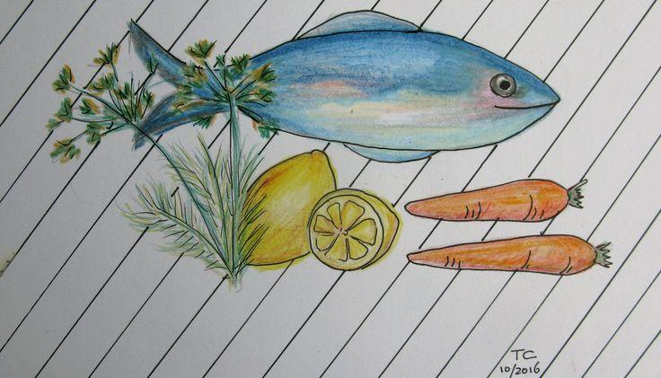 Food Illustratie vis kleurpotlood gemaakt door Tonny Cooyman