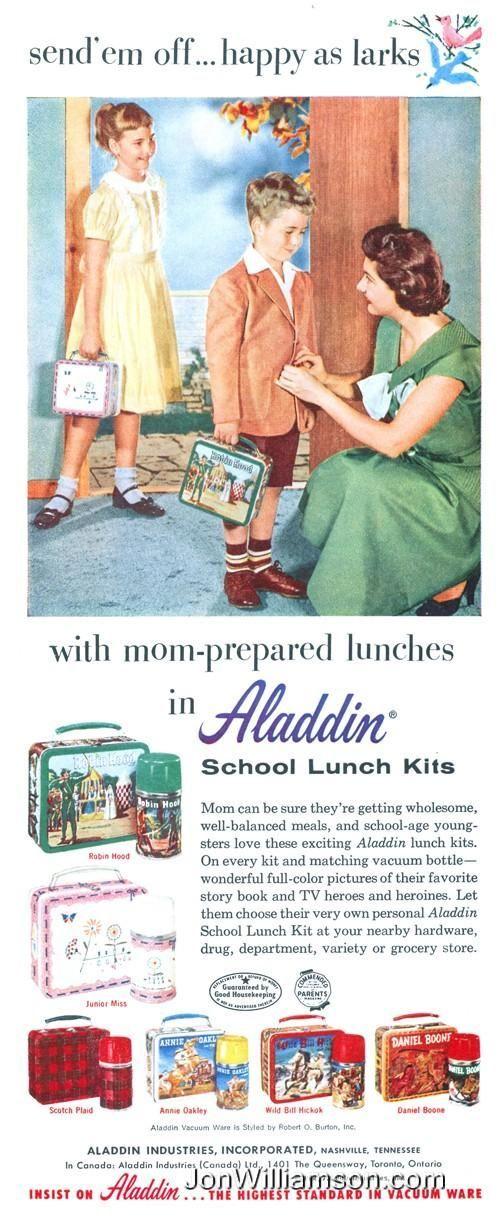 Aladdin Lunch kits ad, 1956                                                                                                                                                                                 More