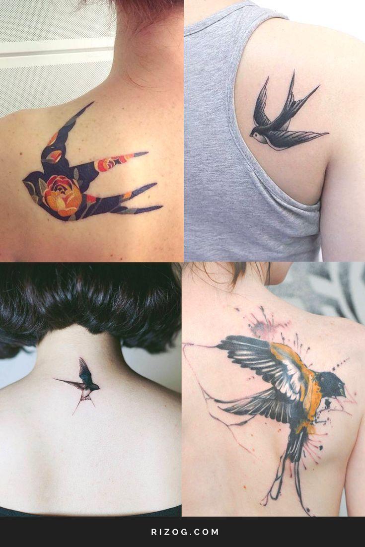 Tatuajes de Golondrinas en la espalda para mujeres