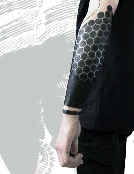Male Forearms Dark Jet Black Honeycomb Tattoo